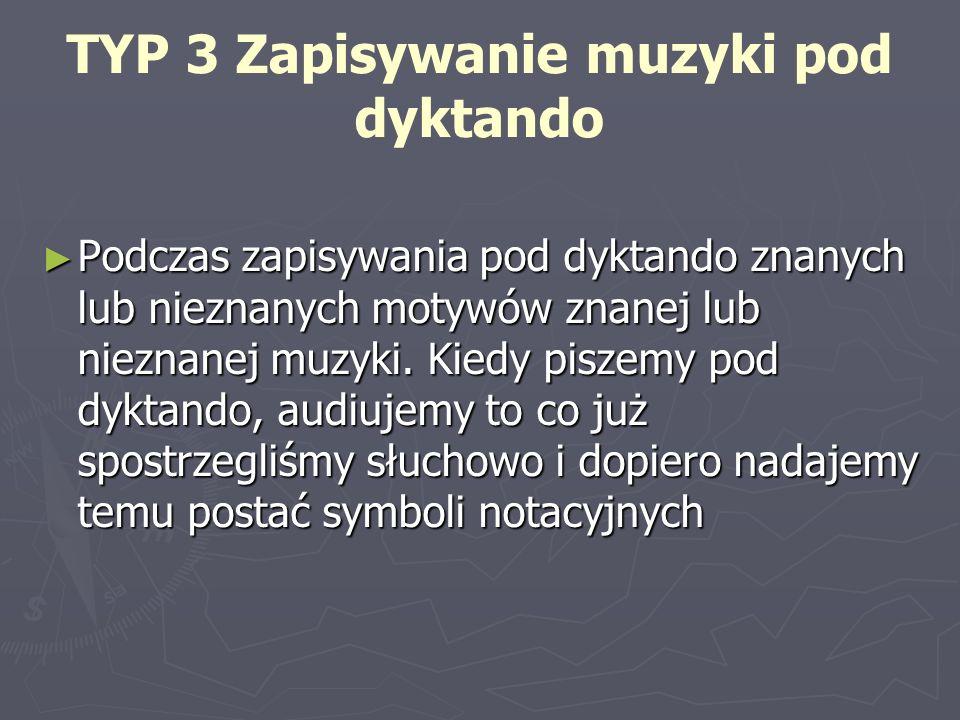 TYP 3 Zapisywanie muzyki pod dyktando