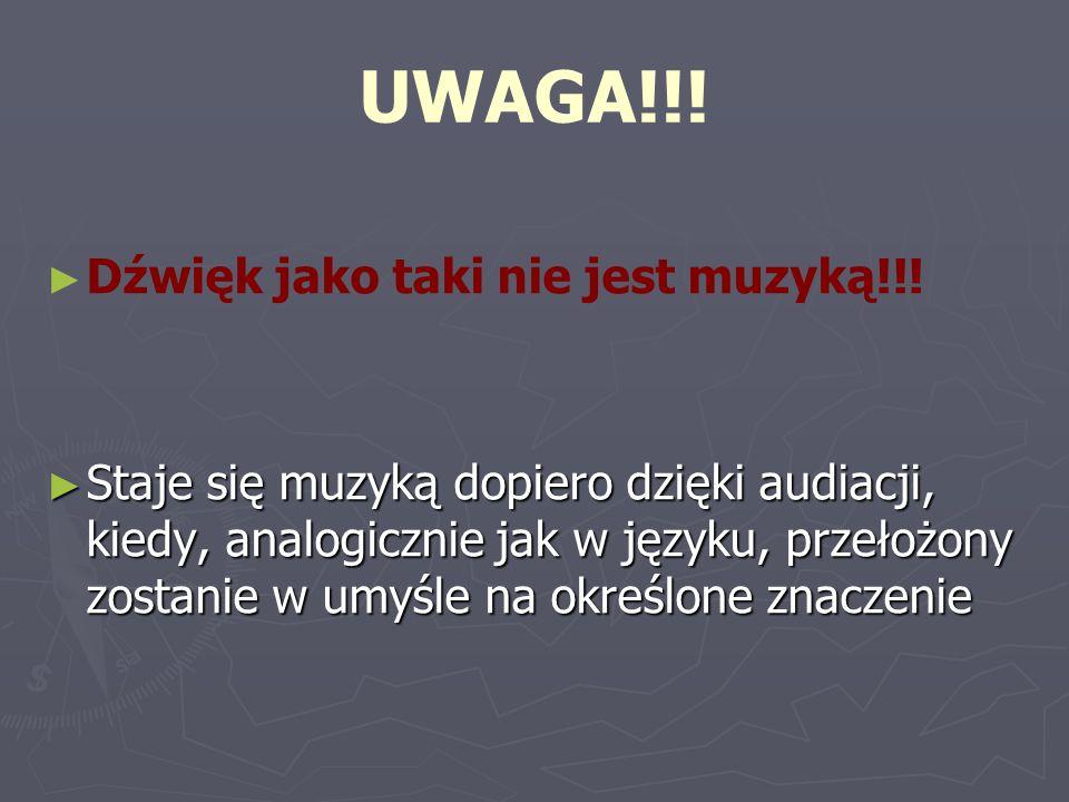 UWAGA!!! Dźwięk jako taki nie jest muzyką!!!