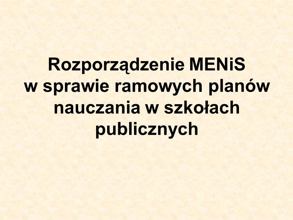 Rozporządzenie MENiS w sprawie ramowych planów nauczania w szkołach publicznych