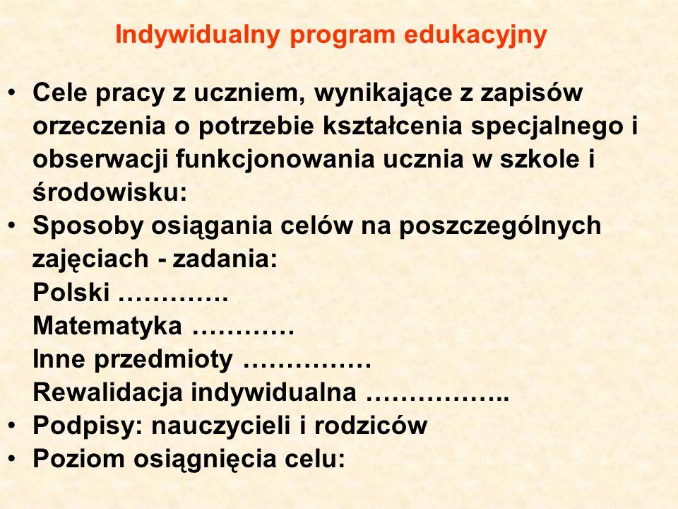 Indywidualny program edukacyjny