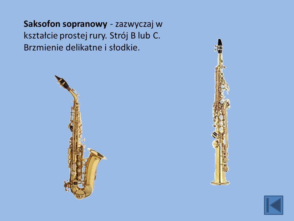 Saksofon sopranowy - zazwyczaj w kształcie prostej rury. Strój B lub C