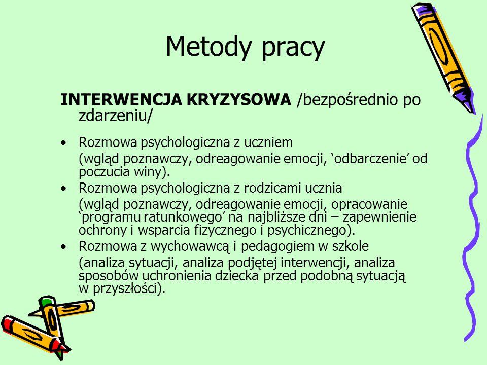 Metody pracy INTERWENCJA KRYZYSOWA /bezpośrednio po zdarzeniu/