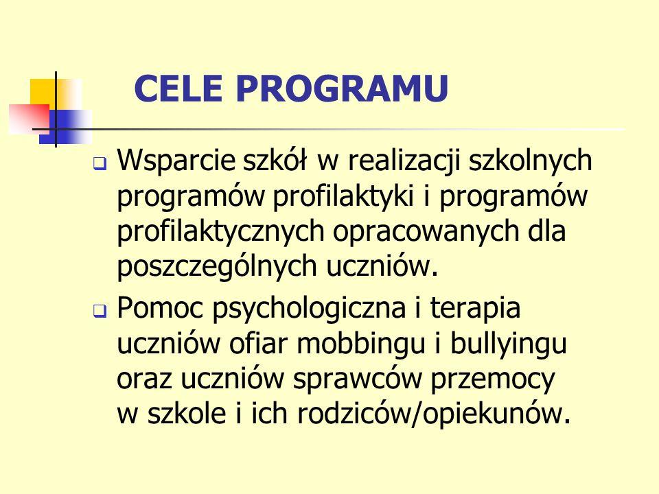 CELE PROGRAMU Wsparcie szkół w realizacji szkolnych programów profilaktyki i programów profilaktycznych opracowanych dla poszczególnych uczniów.