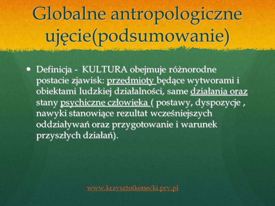 Globalne antropologiczne ujęcie(podsumowanie)