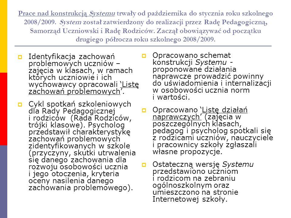 Prace nad konstrukcją Systemu trwały od października do stycznia roku szkolnego 2008/2009. System został zatwierdzony do realizacji przez Radę Pedagogiczną, Samorząd Uczniowski i Radę Rodziców. Zaczął obowiązywać od początku drugiego półrocza roku szkolnego 2008/2009.