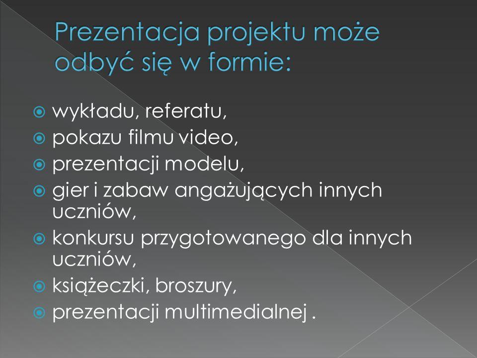 Prezentacja projektu może odbyć się w formie: