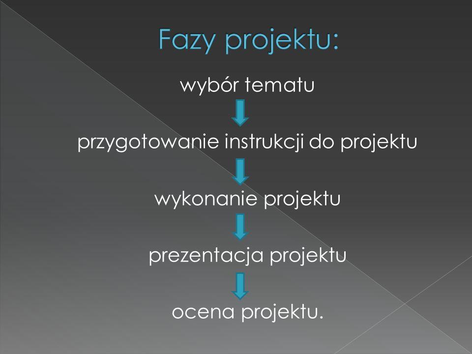 Fazy projektu:wybór tematu przygotowanie instrukcji do projektu wykonanie projektu prezentacja projektu ocena projektu.