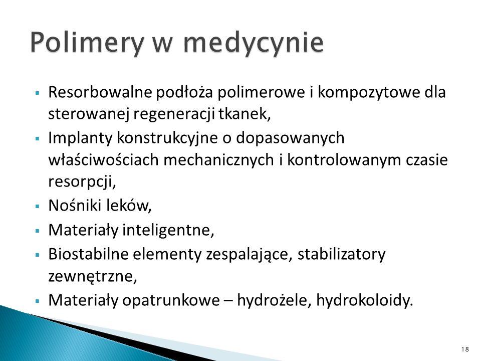 Polimery w medycynie Resorbowalne podłoża polimerowe i kompozytowe dla sterowanej regeneracji tkanek,