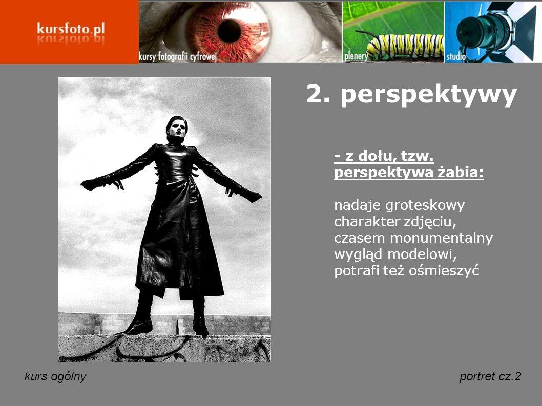 2. perspektywy - z dołu, tzw. perspektywa żabia: