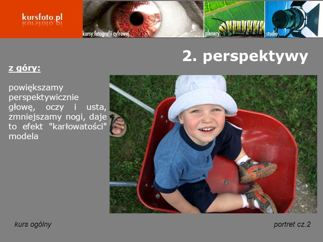 2. perspektywy z góry: powiększamy perspektywicznie głowę, oczy i usta, zmniejszamy nogi, daje to efekt karłowatości modela.