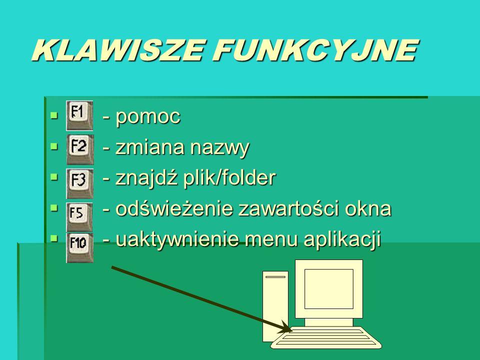 KLAWISZE FUNKCYJNE - pomoc - zmiana nazwy - znajdź plik/folder