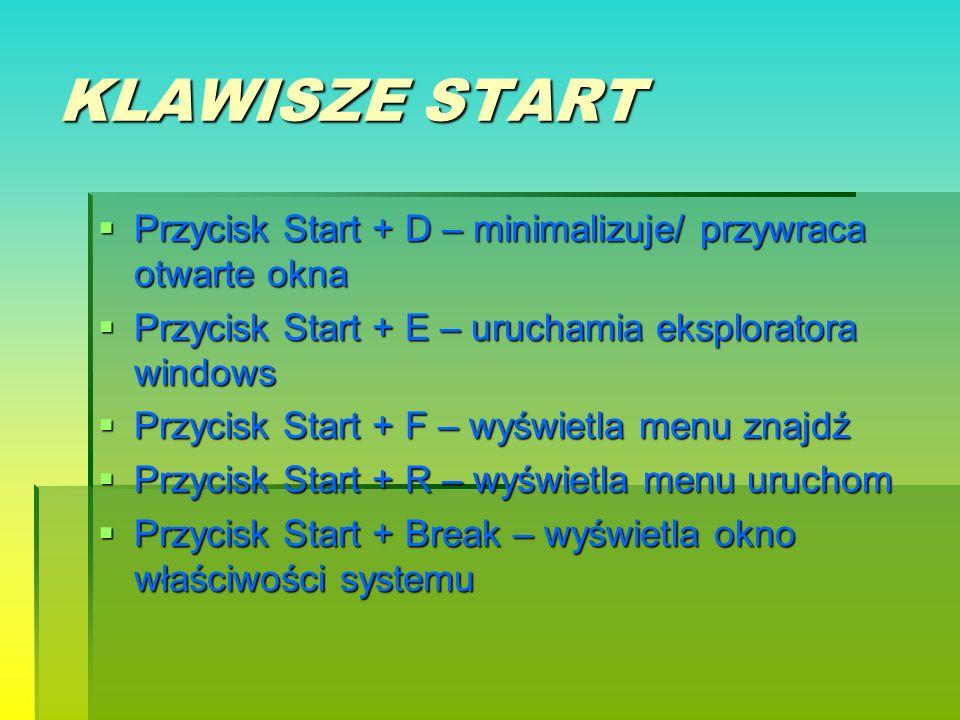 KLAWISZE START Przycisk Start + D – minimalizuje/ przywraca otwarte okna. Przycisk Start + E – uruchamia eksploratora windows.