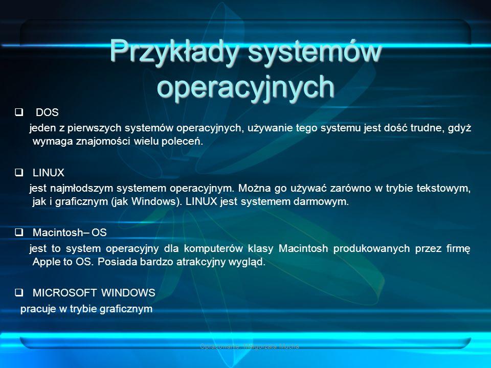 Przykłady systemów operacyjnych