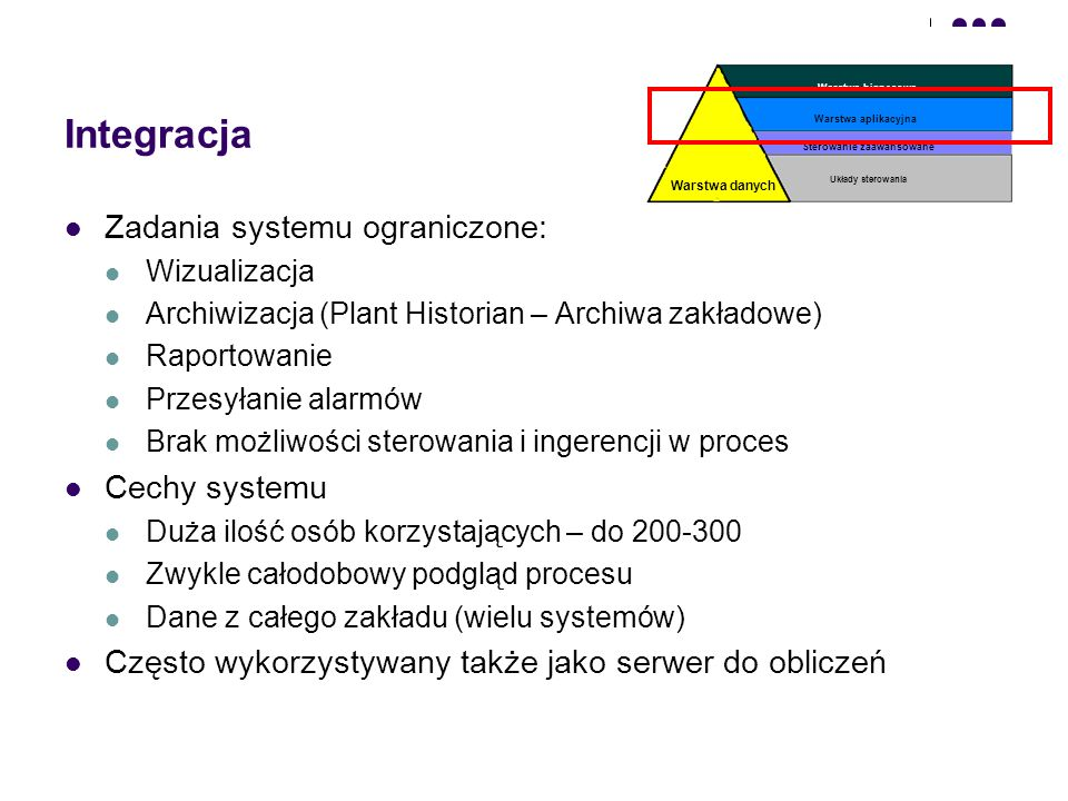 Integracja Zadania systemu ograniczone: Cechy systemu