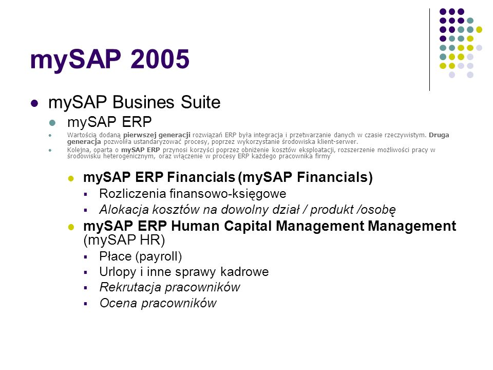 mySAP 2005 mySAP Busines Suite mySAP ERP