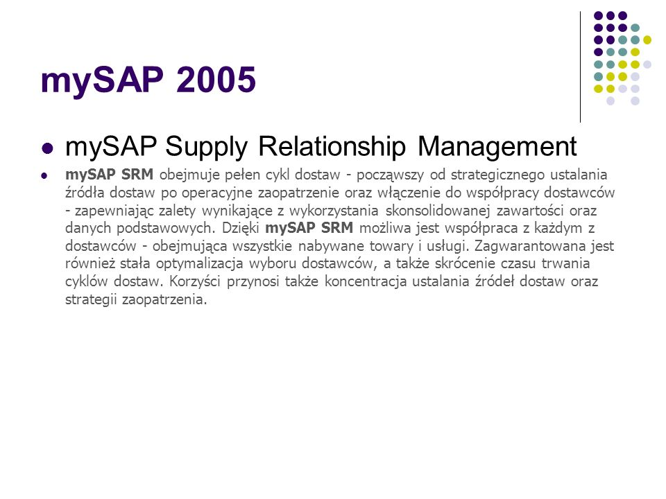 mySAP 2005 mySAP Supply Relationship Management