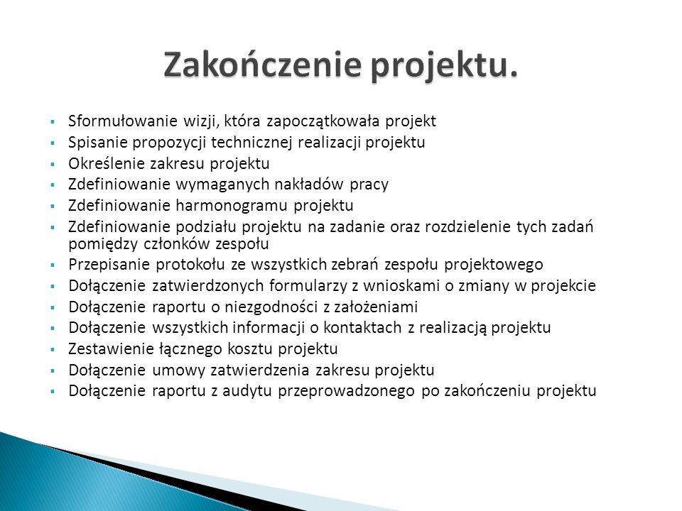 Zakończenie projektu. Sformułowanie wizji, która zapoczątkowała projekt. Spisanie propozycji technicznej realizacji projektu.