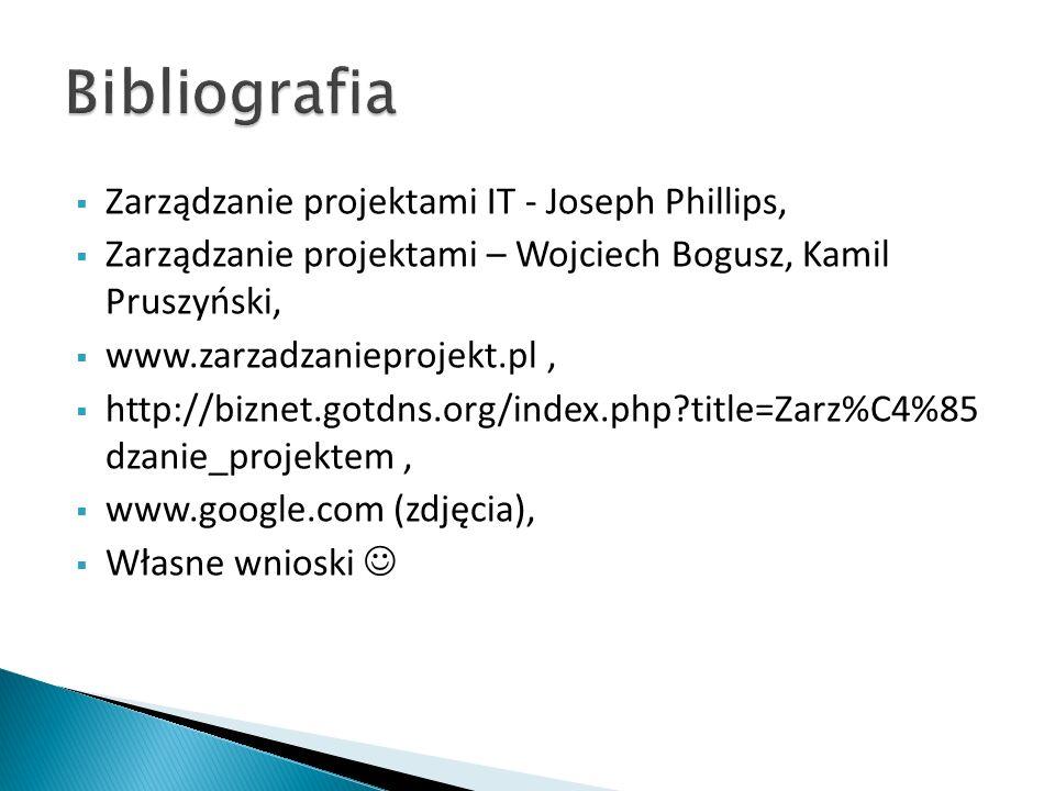 Bibliografia Zarządzanie projektami IT - Joseph Phillips,