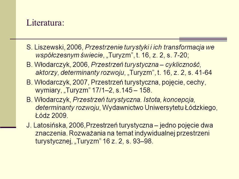 """Literatura: S. Liszewski, 2006, Przestrzenie turystyki i ich transformacja we współczesnym świecie, """"Turyzm , t. 16, z. 2, s. 7-20;"""