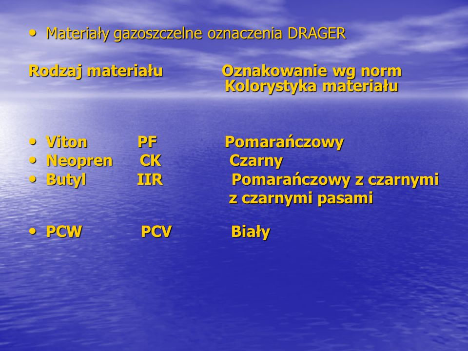 Materiały gazoszczelne oznaczenia DRAGER