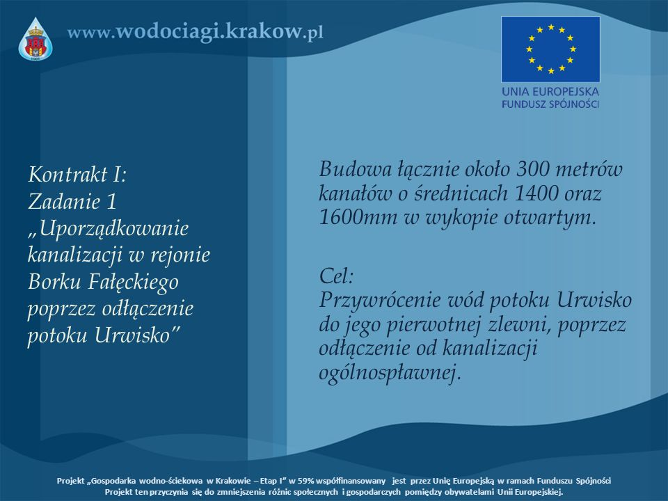 """Kontrakt I: Zadanie 1 """"Uporządkowanie kanalizacji w rejonie Borku Fałęckiego poprzez odłączenie potoku Urwisko"""