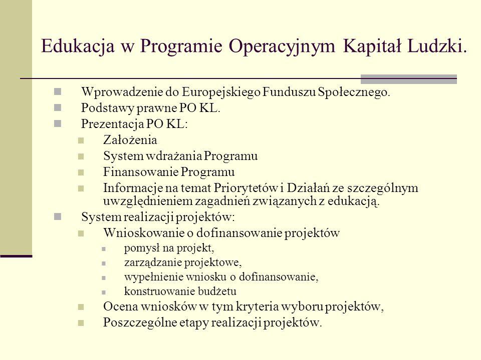 Edukacja w Programie Operacyjnym Kapitał Ludzki.