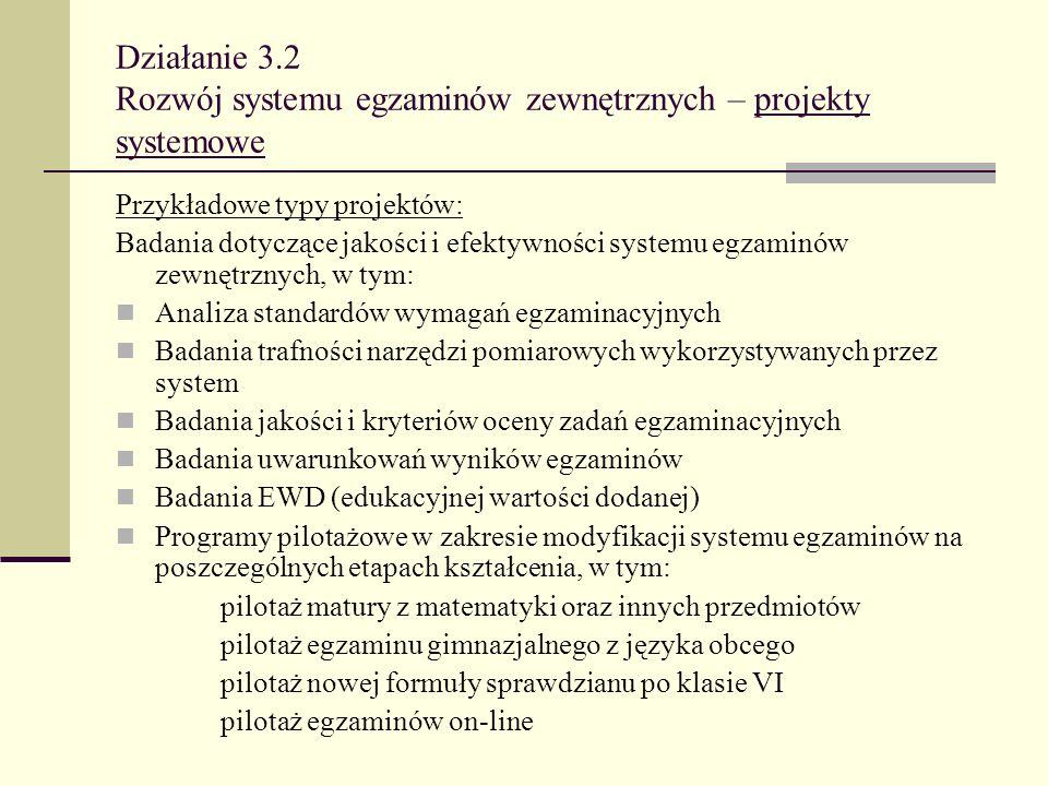 Działanie 3.2 Rozwój systemu egzaminów zewnętrznych – projekty systemowe