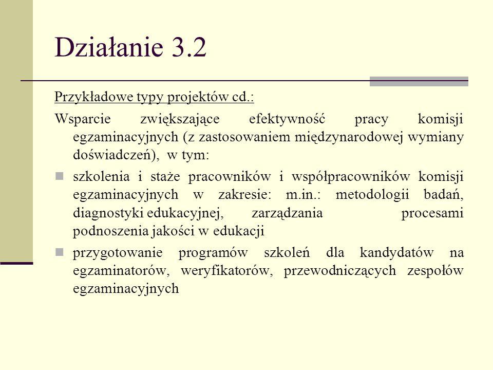 Działanie 3.2 Przykładowe typy projektów cd.: