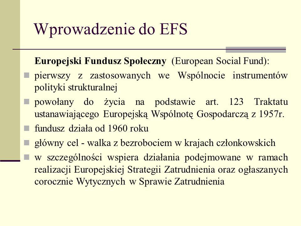 Wprowadzenie do EFS Europejski Fundusz Społeczny (European Social Fund): pierwszy z zastosowanych we Wspólnocie instrumentów polityki strukturalnej.