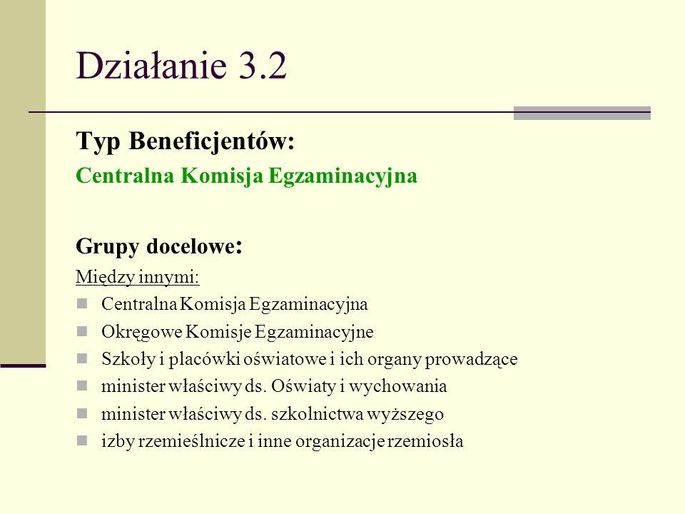 Działanie 3.2 Typ Beneficjentów: Centralna Komisja Egzaminacyjna