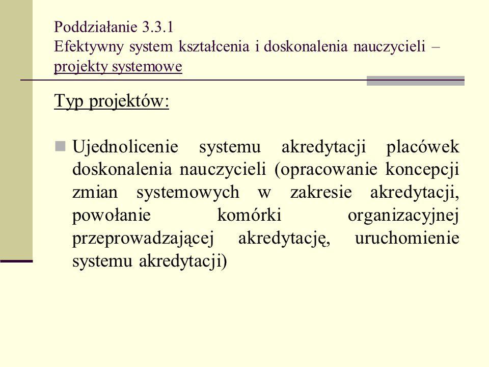 Poddziałanie 3.3.1 Efektywny system kształcenia i doskonalenia nauczycieli – projekty systemowe