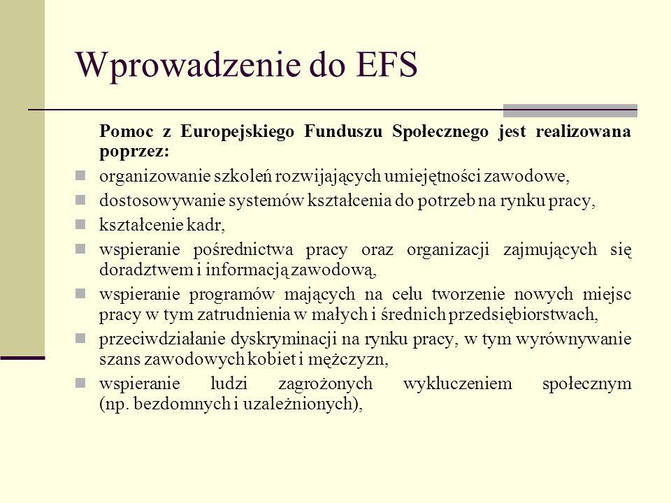 Wprowadzenie do EFS Pomoc z Europejskiego Funduszu Społecznego jest realizowana poprzez: organizowanie szkoleń rozwijających umiejętności zawodowe,