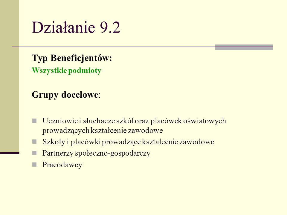 Działanie 9.2 Typ Beneficjentów: Grupy docelowe: Wszystkie podmioty