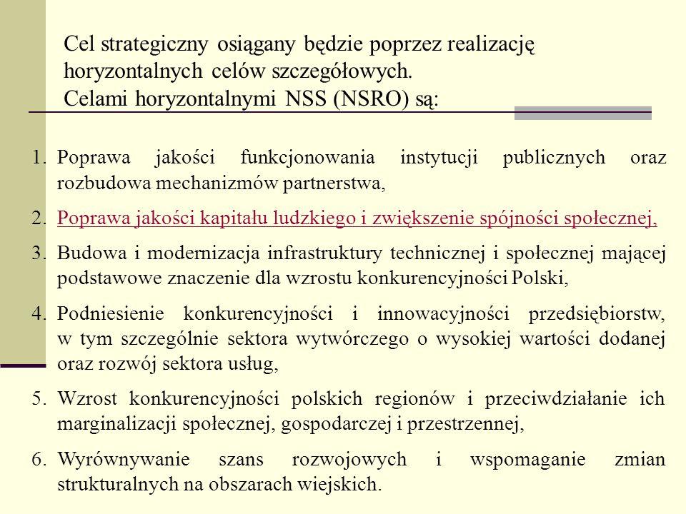 Celami horyzontalnymi NSS (NSRO) są: