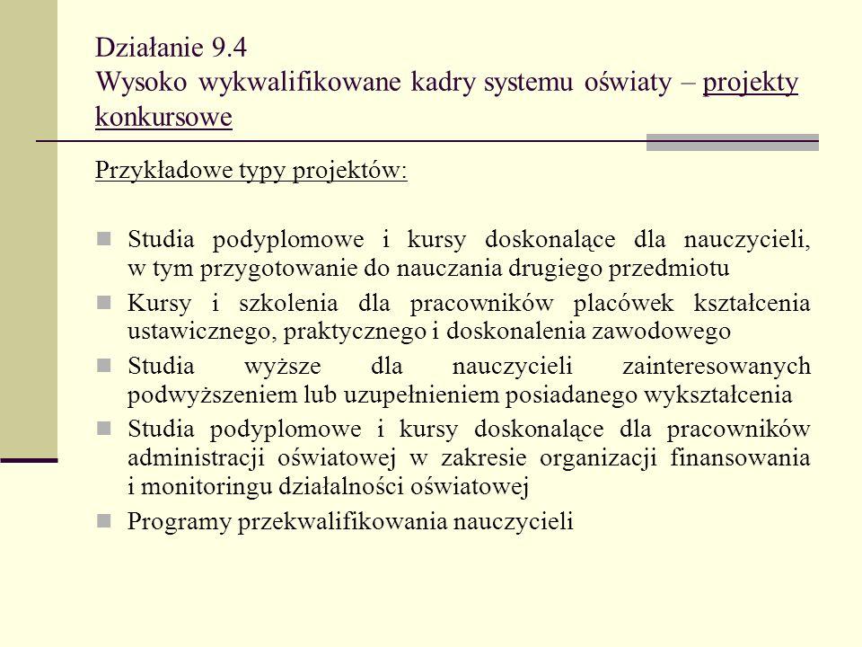 Działanie 9.4 Wysoko wykwalifikowane kadry systemu oświaty – projekty konkursowe