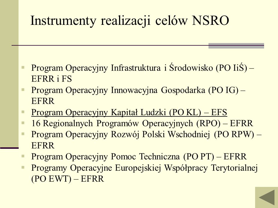Instrumenty realizacji celów NSRO