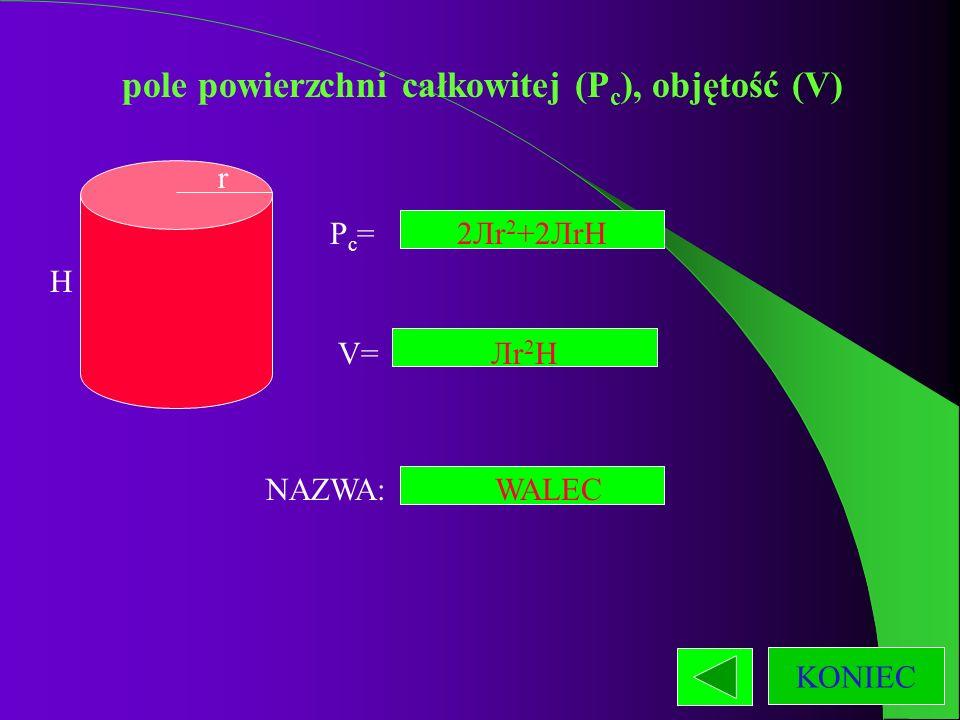 pole powierzchni całkowitej (Pc), objętość (V)