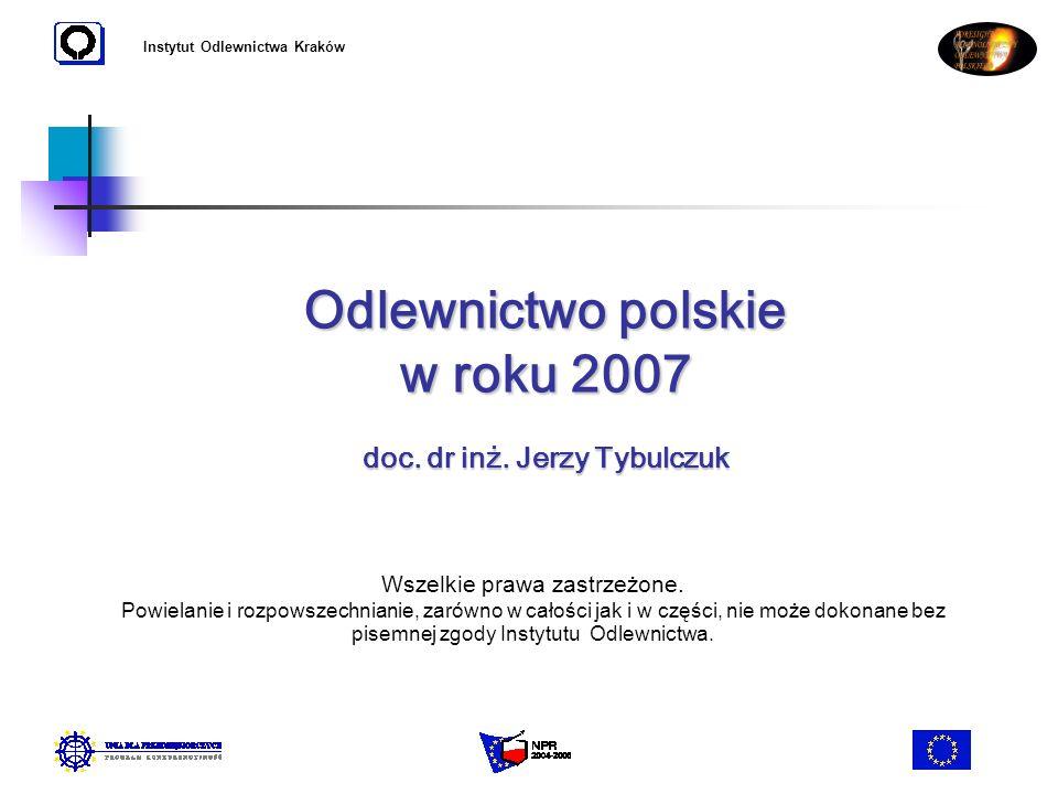 Odlewnictwo polskie w roku 2007 doc. dr inż. Jerzy Tybulczuk