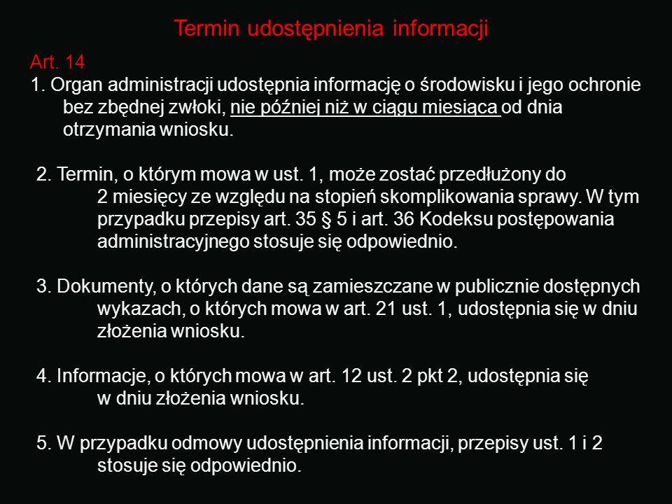 Termin udostępnienia informacji