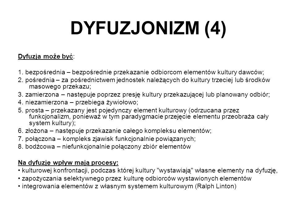 DYFUZJONIZM (4) Dyfuzja może być: