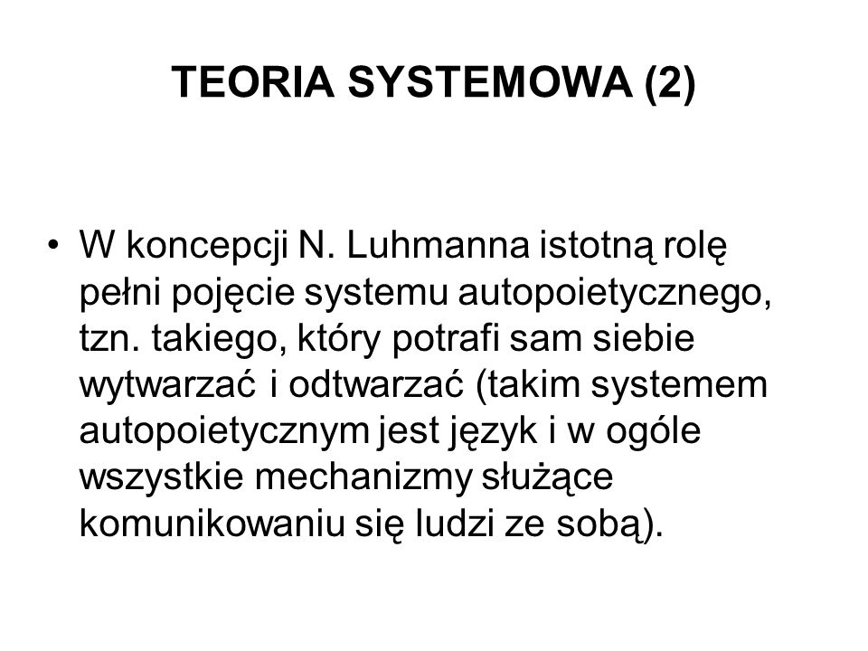 TEORIA SYSTEMOWA (2)