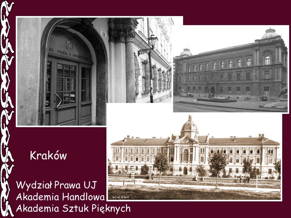 Kraków Wydział Prawa UJ Akademia Handlowa Akademia Sztuk Pięknych