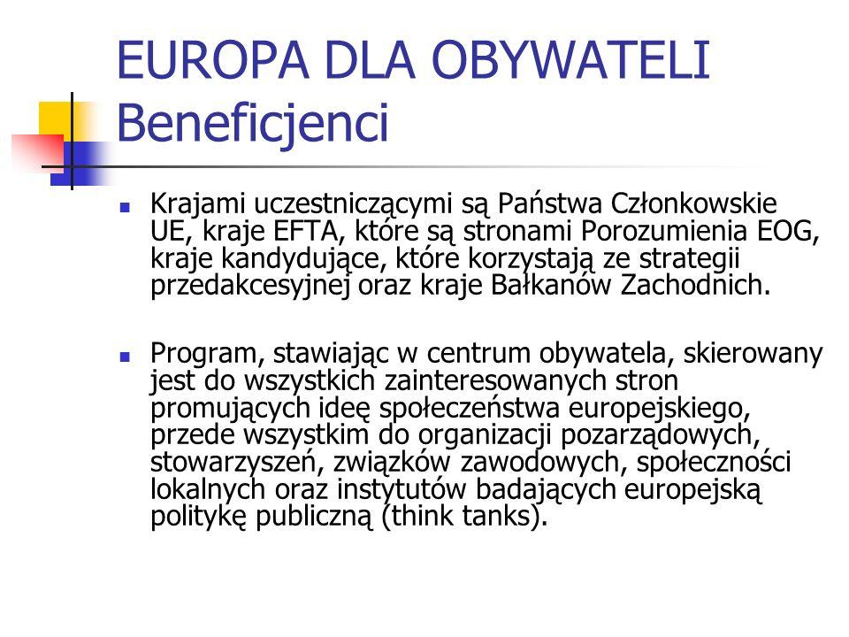 EUROPA DLA OBYWATELI Beneficjenci