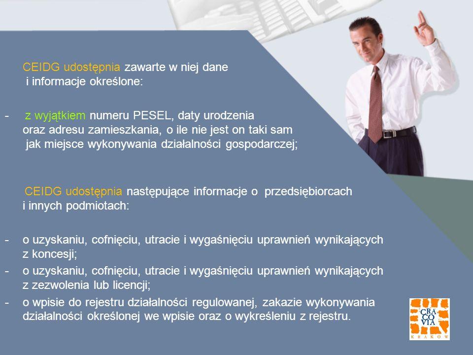 CEIDG udostępnia zawarte w niej dane i informacje określone: