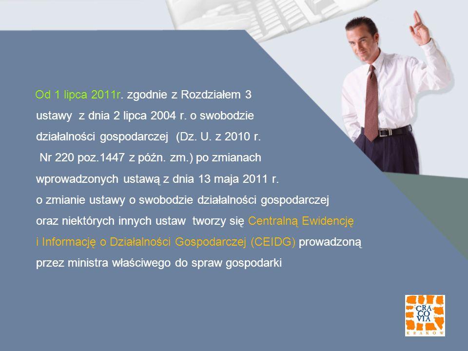 Od 1 lipca 2011r. zgodnie z Rozdziałem 3 ustawy z dnia 2 lipca 2004 r