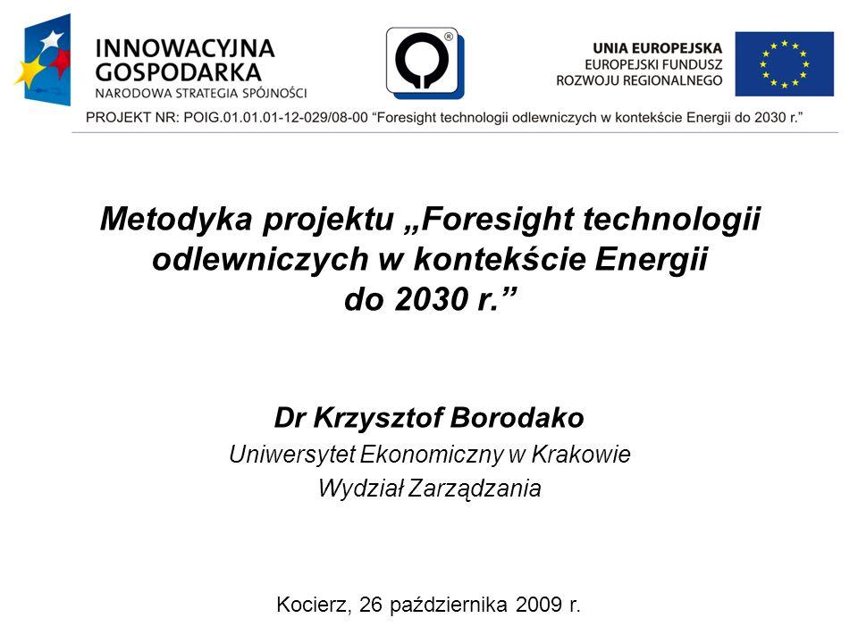 """Metodyka projektu """"Foresight technologii odlewniczych w kontekście Energii do 2030 r."""