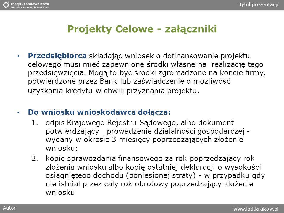 Projekty Celowe - załączniki