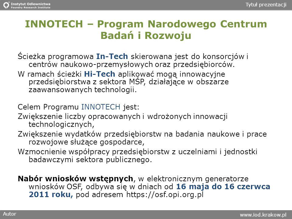 INNOTECH – Program Narodowego Centrum Badań i Rozwoju
