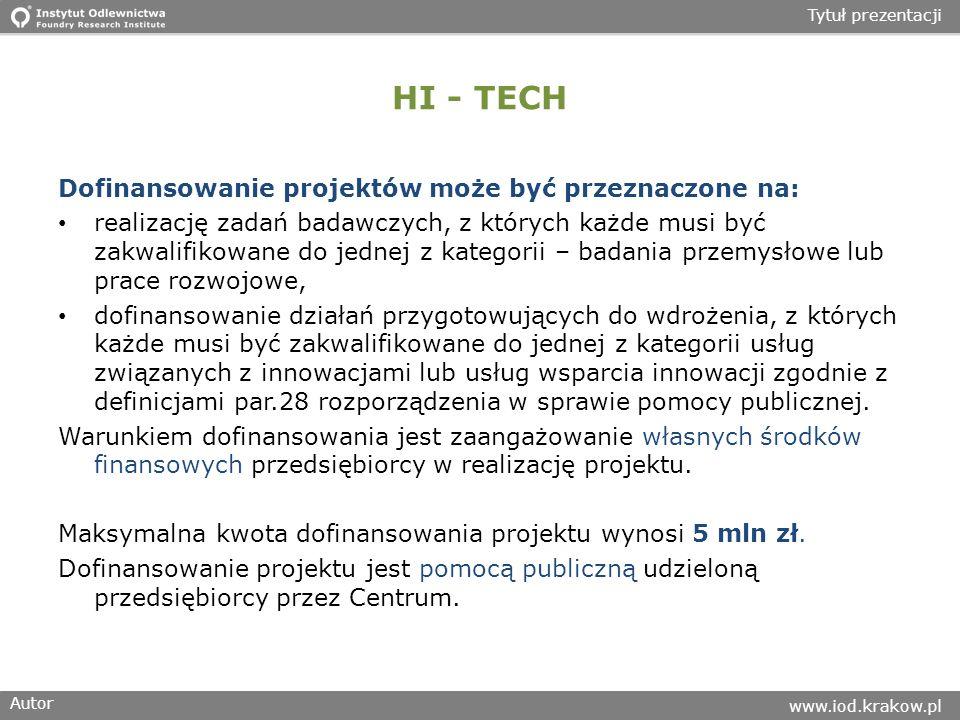HI - TECH Dofinansowanie projektów może być przeznaczone na: