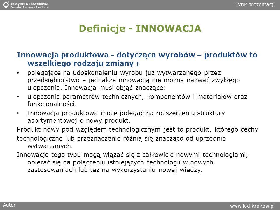 Definicje - INNOWACJA Innowacja produktowa - dotycząca wyrobów – produktów to wszelkiego rodzaju zmiany :